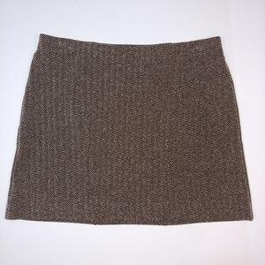 Express Brown Tweed Textured Mini Skirt
